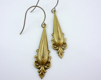 SteamPunk Neo-Victorian Earrings handmade Antique Bronze Ornate Drops