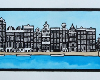 Amsterdam canal print, handmade painted lino print, Singel, Amsterdam, autumn trees, RARE 2nd state, only 7 ever made. Unmounted, unframed.