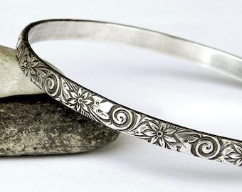Ornate Floral Vintage Look Bangle - Heavy Solid Sterling Bangle - Silver Bangle Bracelet - Stacking Bracelets