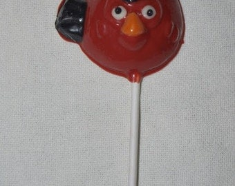 6 Red Angry Bird Lollipops