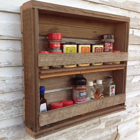 Woodworking Plans For Kitchen Spice Rack: Items Similar To Wooden Spice Rack Rustic Kitchen Decor