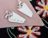 White 1950s style western holster earrings with Swarovski crystals – pierced or clip