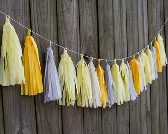 Tissue Tassel Garland in Yellow and Grey, FREE Shipping