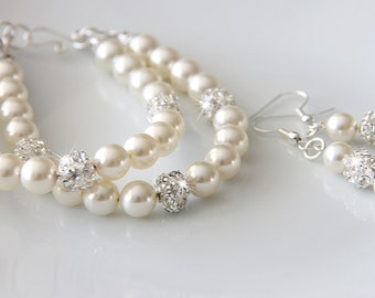 Wedding Jewelry Set, Swarovski Pearl Bridal Jewelry Set, Pearl Earrings Bracelet Set, Bridal Jewellery  art. e02-b05