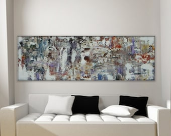 """Large long original abstract paining by MARCY CHAPMAN 36"""" x 12""""  gallery wrapped available upon request!"""