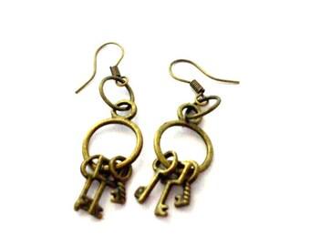 Steampunk Earrings, 3 Antique Bronze Skeleton Keys on a Ring, Small Key Earrings, Steampunk Jewelry, Miniature Jailer Keys, Buy 2 Get 1 FREE