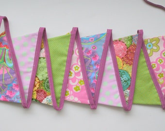 SALE!!! Fabric Bunting, Fabric banner, Party banner, Garland, Pennant - 10 cotton flags.