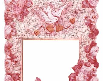 Antique Rose PINK Floral CARD FRAME with clover dove hearts-  Instant Digital download