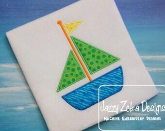 Sail Boat Applique embroidery design - boat appliqué design - summer appliqué design - beach appliqué design - nautical appliqué design