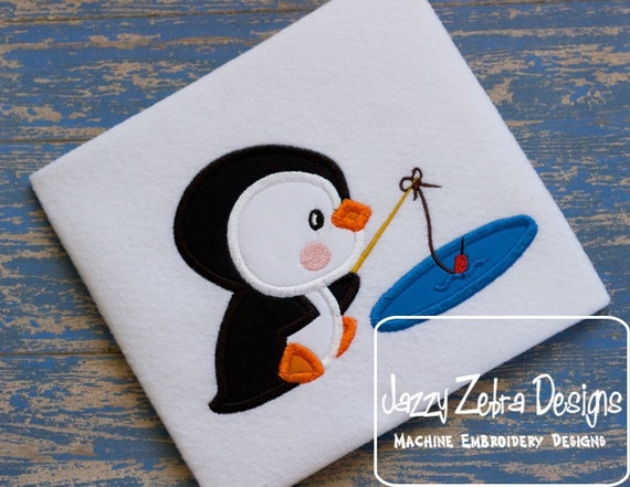 Penguin 9 Applique embroidery Design - Penguin Applique Design - winter Applique Design - fishing Applique Design