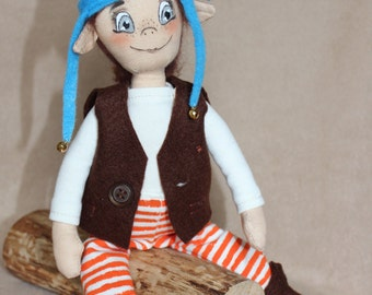 Elf Magic kids adults Fall time December trends Winter gift ideas Christmas Blue Striped Brown Gift idea cloth doll Christmas Elf holiday