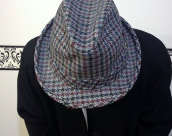 1950's Houndstooth Wool Knox Fedora, Vintage Men's Fedora in Grey Plaid, 1960's Hipster / Rockabilly Hat