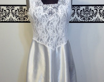 80's Wedding White Princess Pin Up Nightgown by Cinema Exoile, Size Medium, Vintage 1980's Lingerie, Ballerina Bridal Negligee / White Teddy