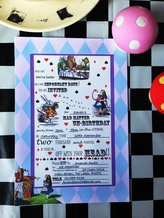 Alice in Wonderland - Vintage - Purple&Pink - White Rabbit - Birthday - Invitation - 2017 - PRINTABLE - PDF - Pre-filled - Instant Download