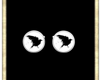 Crow Cufflinks- Silver Plated Cufflinks