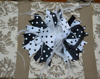 "CLEARANCE: Black and White Over The Top Hair Bow with Black Ostrich Feathers 5"" Bow on Alligator Clip"