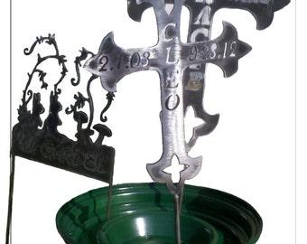 Pet Memorial Metal Art Cross in Two Sizes