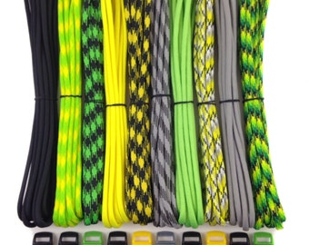 """Paracord Mix 100 ft 550lb Type III for Paracord bracelets + 10 3/8"""" buckles 10 ft each - 7 Strand Mil Spec Made in USA ~ DIY parachute cord"""