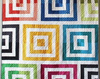 "Modern quilt pattern - ""Motherboard"" - a modern and easy to make head turner of a quilt, 54"" x 64"" - Instant download PDF"
