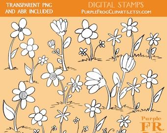 FLOWERS - Digital Stamp Set. 11 images, 300 dpi. jpeg, png files. Instant download.