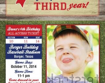 Baseball Birthday Invitation - 4x6 or 5x7