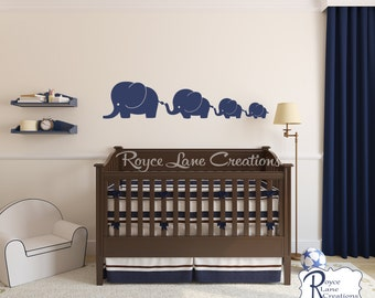 Elephant Family 4 Elephants Decal, Nursery Elephant Wall Decal, Baby Boy or Baby Girl Wall Decal- Nursery Wall Decals