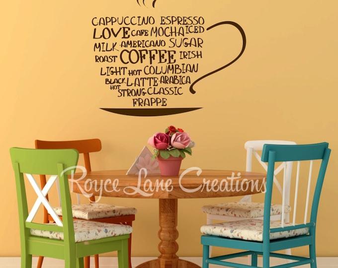 Coffee Word Art Kitchen Wall Decal- Coffee Art- Coffee Decor Kitchen- Coffee Wall Decal- Coffee Decal