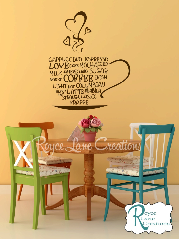 Coffee word art kitchen wall decal coffee art coffee decor for Kitchen wall art