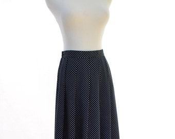Koret Pleated Polka Dot Skirt // 90s Vintage Skirt // Navy Blue Skirt // Size S Skirt // Size 4P- 6P Skirt