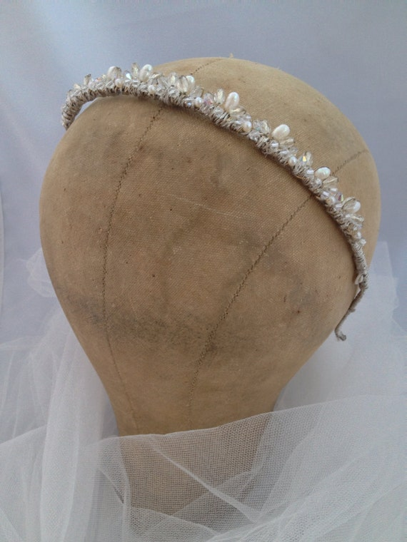 Tiara, Freswater Pearl Crown, Bridal Tiara, Headphone, Sawarovski Crystal Crown , Freshwater Pearl Bridal Headpiece  -ANALISE Tiara