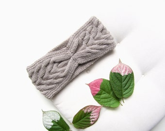 Beige knit headband winter knitted ear warmer accessory knitting turban head wrap warm Christmas gift