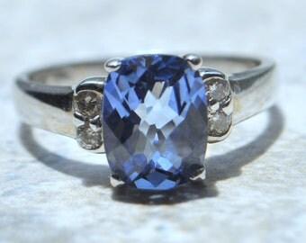Gorgeous 14K White Gold Cushion Blue Stone & Diamond Ring
