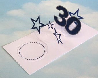 30th Birthday Card Spiral Pop Up 3D - Blue Stars