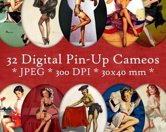 INSTANT DOWNLOAD Digital Pin Up Cameos 30x40 mm ovals Digital Collage Sheet - for Jewelry, Crafts