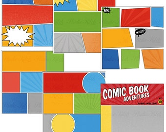 Comic Strip Digital Papers, Scrapbooking, Digital Scrapbooking, INSTANT DOWNLOAD, Super Hero
