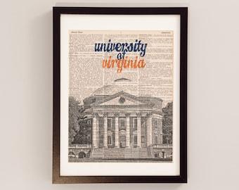 University of Virginia Campus Watercolor Print UVA Rotunda