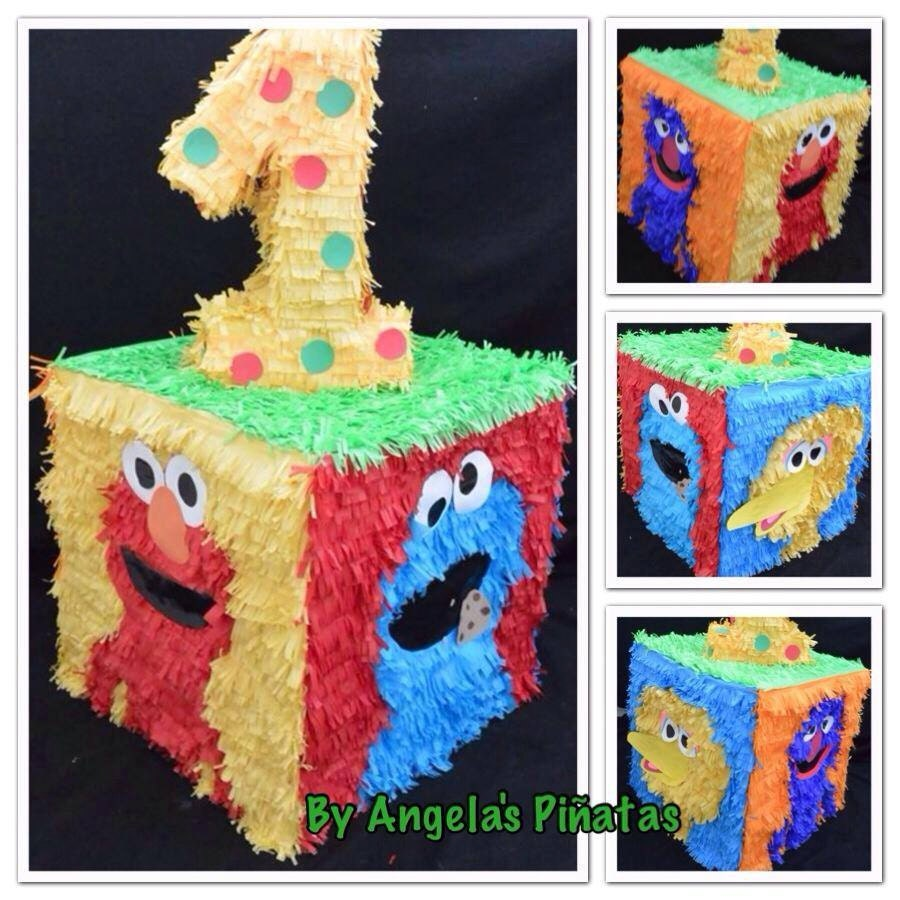 1st birthday sesame street custom made pi ata by for Angela decoration
