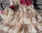 Mauve-Dusty Rose Flower Girl Lace Dress /Lace Flower Girl/Country Wedding Mauve Wedding-Vintage Wedding-Dusty Rose-Headband