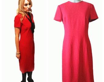 Vintage 1990s Red Short-sleeved Shift Dress