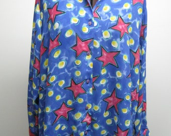 Vintage Fred David Oversized Polyester Georgette Blouse with Pink Stars