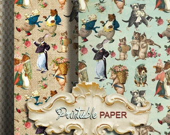 VINTAGE ANIMALs - 2 SHEETs Printable wrapping paper for Scrapbooking, Creat - Download and Print