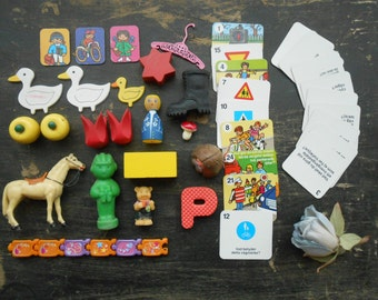 Vintage game pieces A lot of assorted Mixed game pieces Mixed media Assemblage supplies