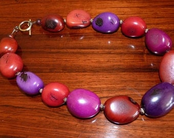 Handmade Necklace in Rich Plum and Brown Tagua Seeds with Brass Spacer Beads