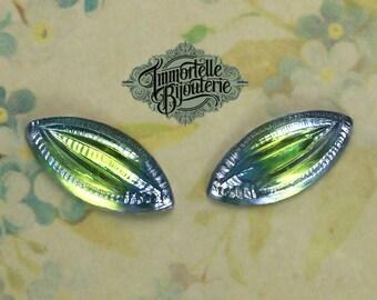 15x7mm Vintage Navette Pressed Givre Sapphire Peridot Glass Jewels - High Quality West German - 6 pcs