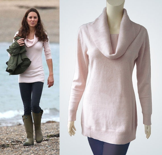 Items Similar To Soft Pink Cashmere Sweater With Cowl Neck