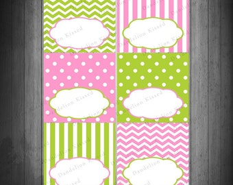 Pink Green Birthday Baby Shower Digital Printable Food Label Buffet Name Tags Tent Cards DIY