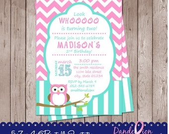 Teal Pink Owl Happy Birthday Digital Printable Invitation DIY Personalized Custom