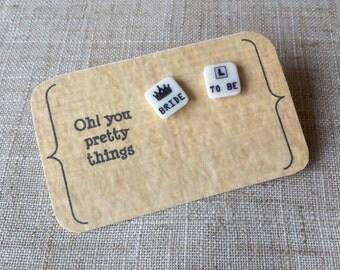 Bride to be earrings - Hen party earrings - Bachelorette earrings - Quirky earrings - Bride to be gift