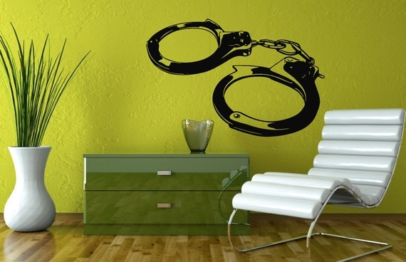 wall decals police handcuffs decal vinyl sticker home decor bedroom