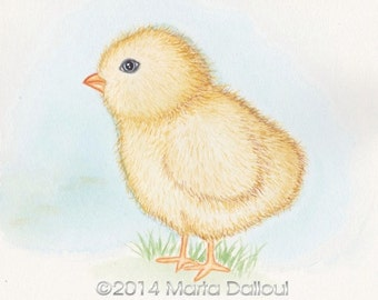 Chick  watercolor art print. Cute chick art. Chick painting. Farm animal art. Farm animal nursery. Nursery art print. Cute nursery art.